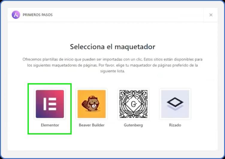 Selección maquetador Elementor en Tema Astra WordPress