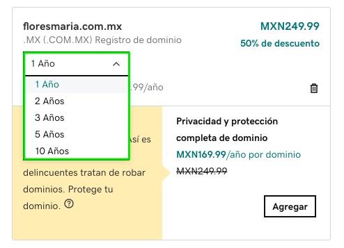 Comprar dominio en GoDaddy