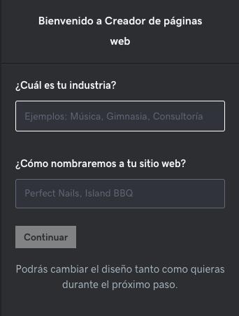 Asistente GoDaddy para crear página de internet en un paso