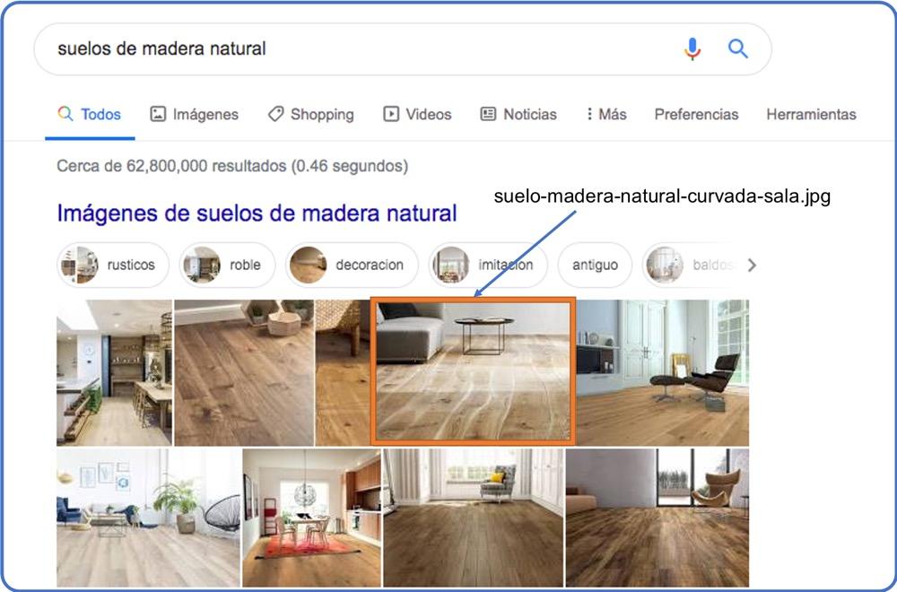 Ejemplos de búsqueda de imagen con nombre de archivo optimizado