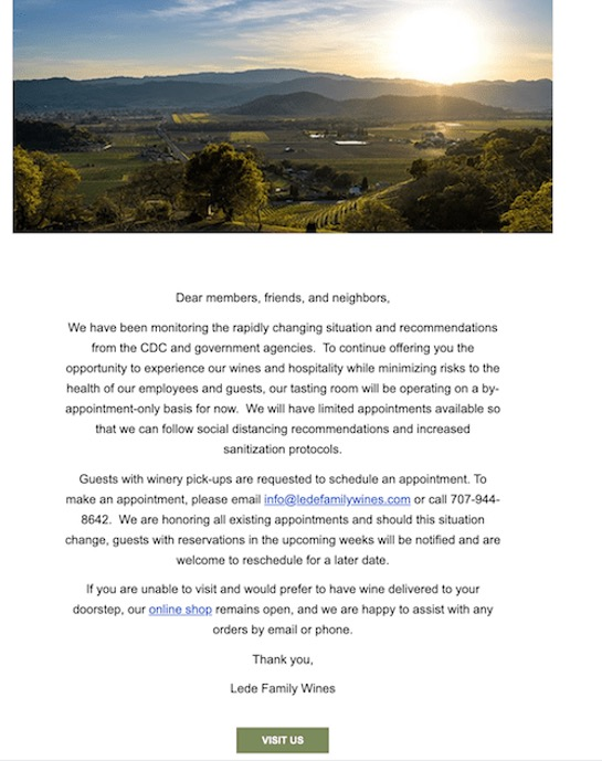 Email COVID-19 Lede Family Wines