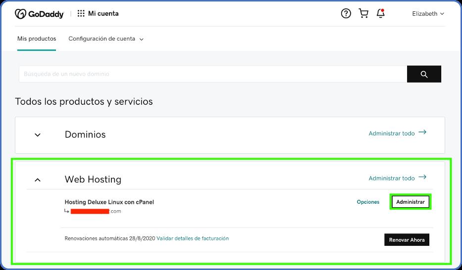 Servicio de hosting en cuenta GoDaddy