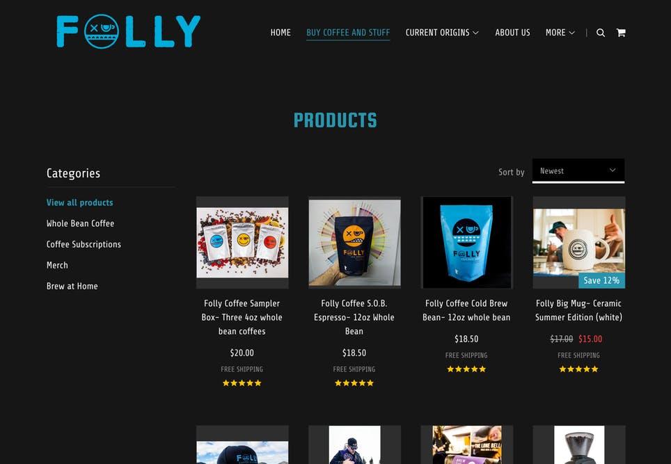 Ejemplo de tienda en línea creada con GoDaddy