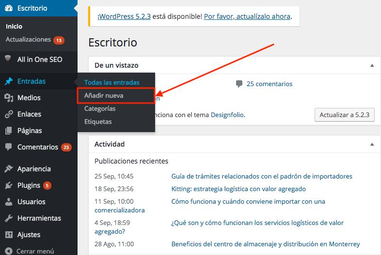 Añadir información a tu página web profesional es muy fácil con WordPress