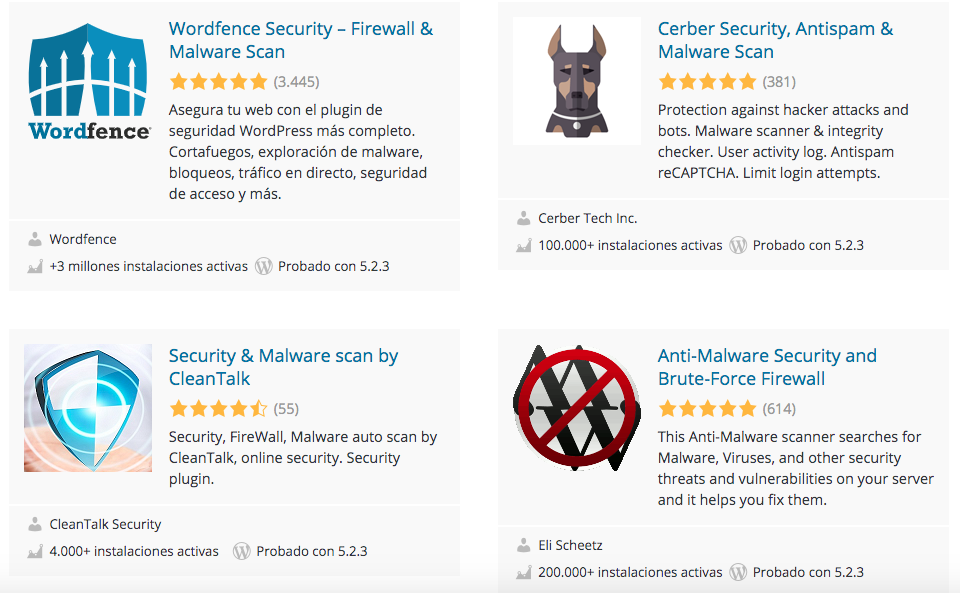 Plugins de seguridad web de WordPress