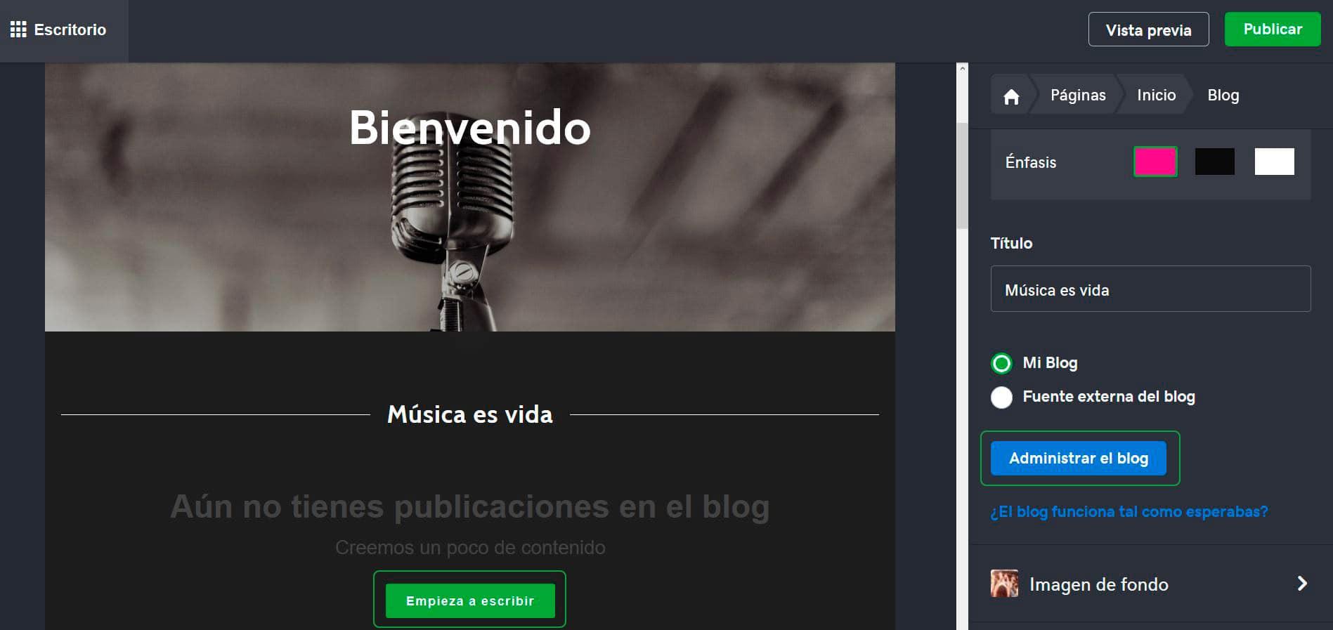 Edita la apariencia de tu blog