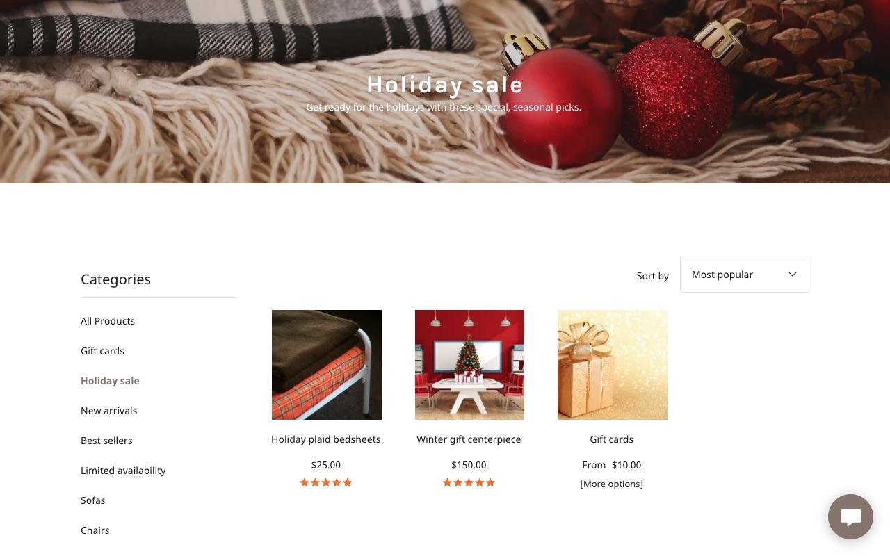 ejemplo de categoría navideña en tienda online