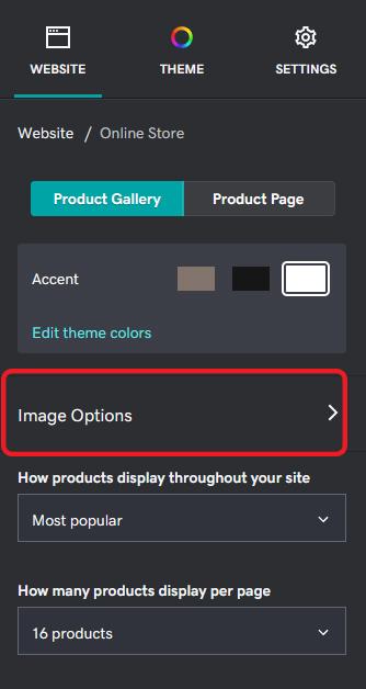 Opciones de imagen en galería de producto