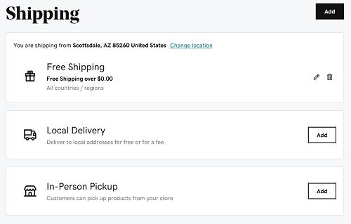 opciones de envío en tienda online