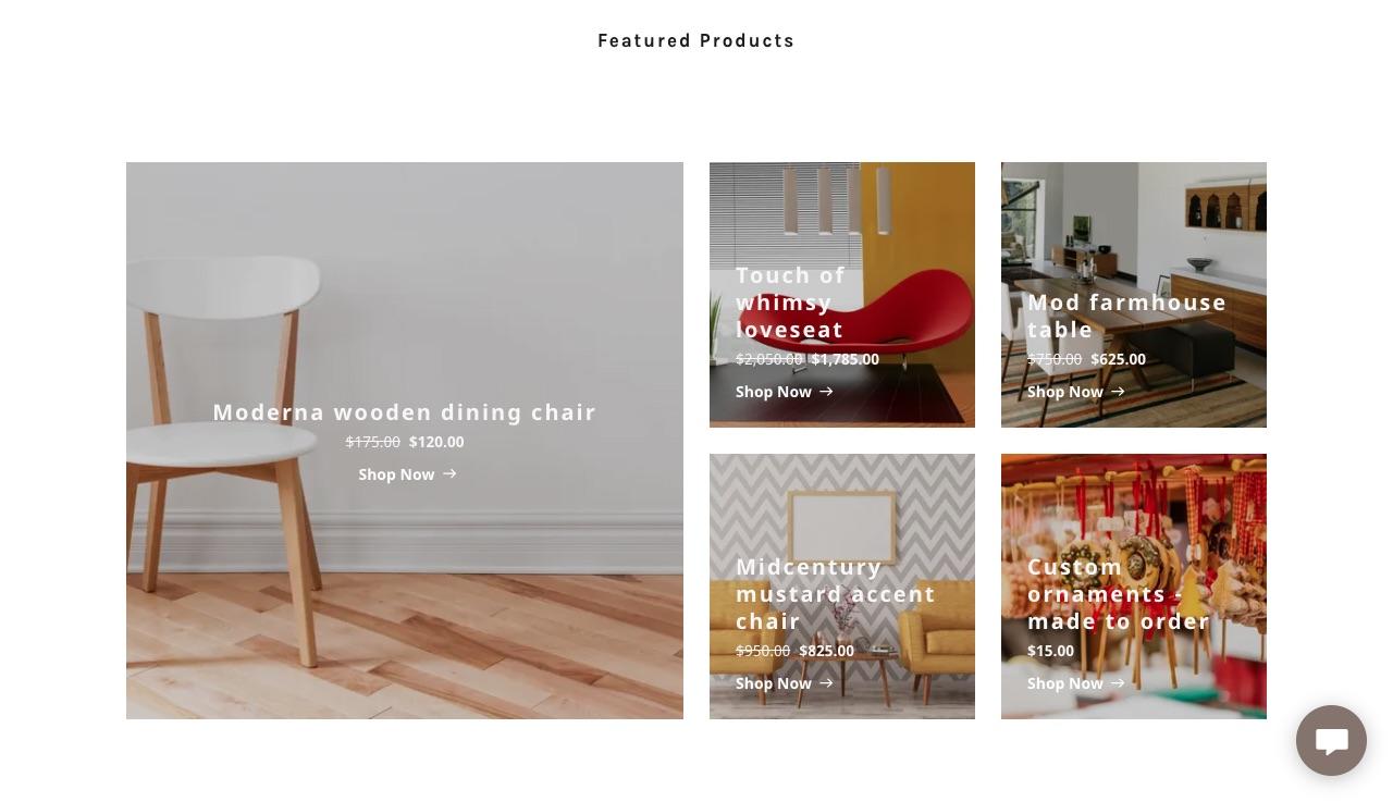 Tienda online sección de productos destacados
