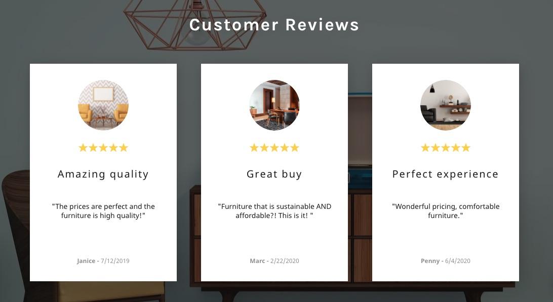 sección de testimonios de clientes en tienda online