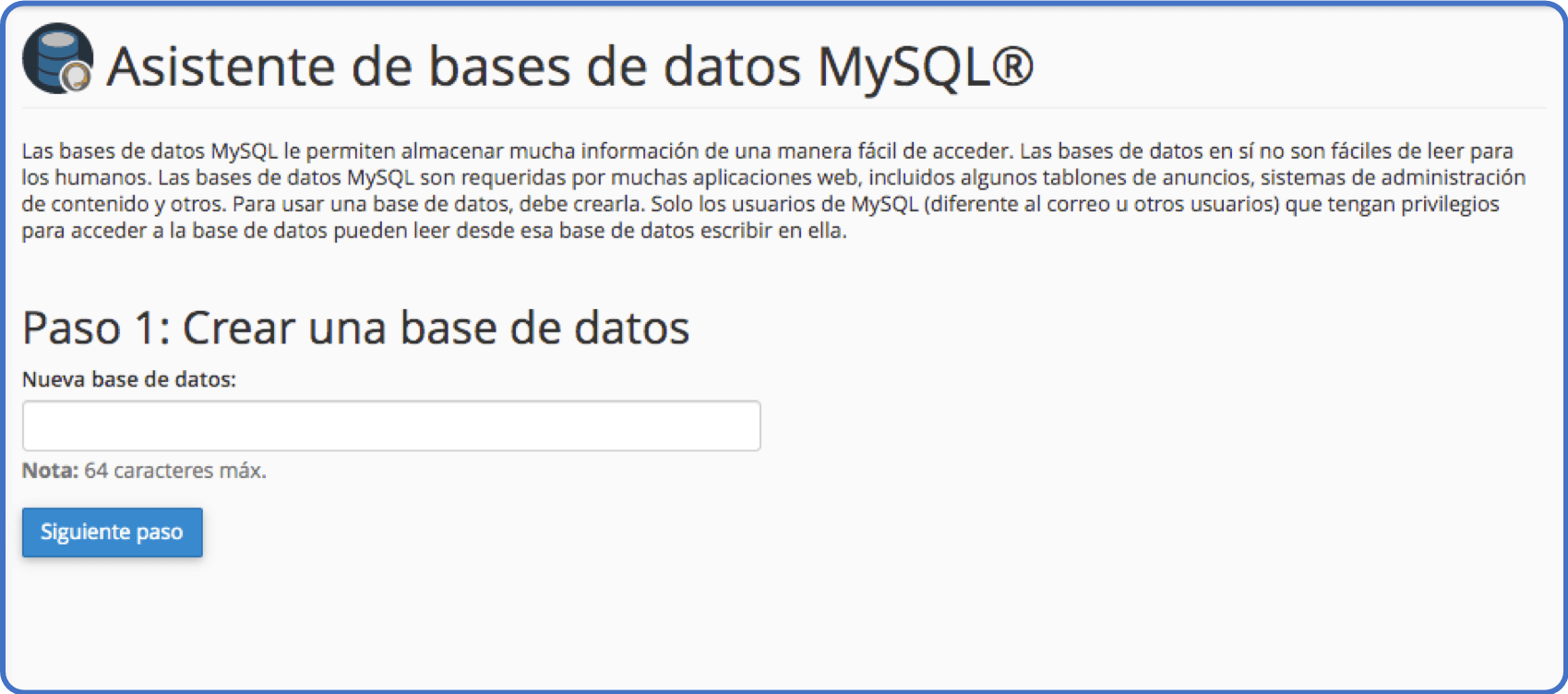 Tips de cPanel: base de datos MySQL