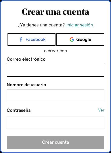 cómo hacer una página de internet: crea una cuenta