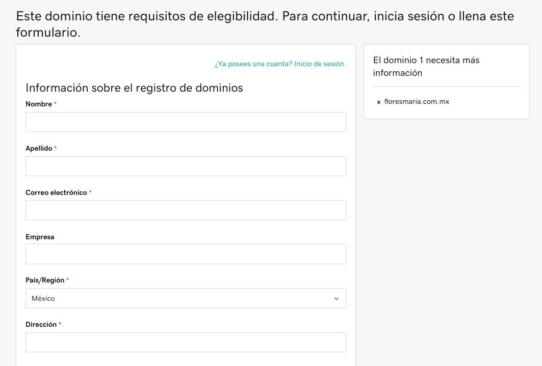 Formulario comprar dominio .mx