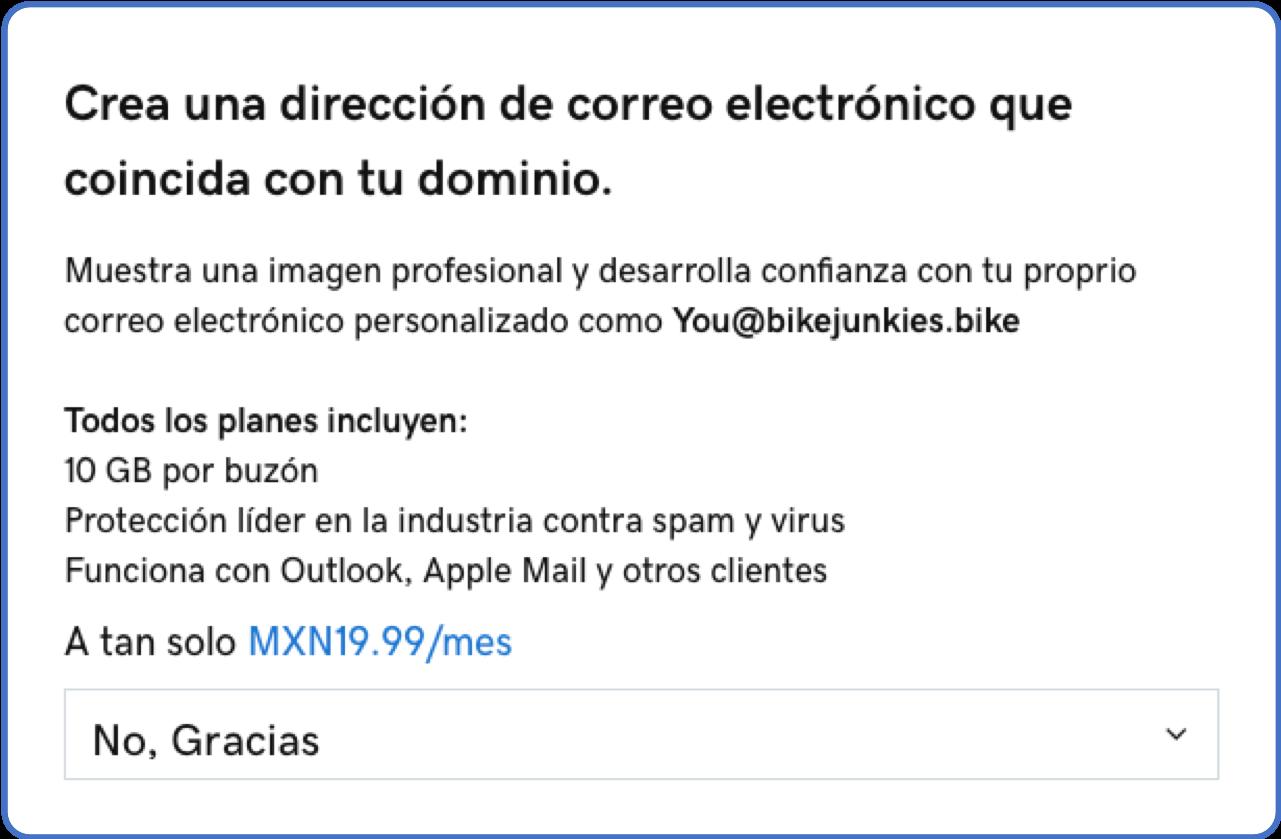 Precio dominio + correo electrónico personalizado en GoDaddy