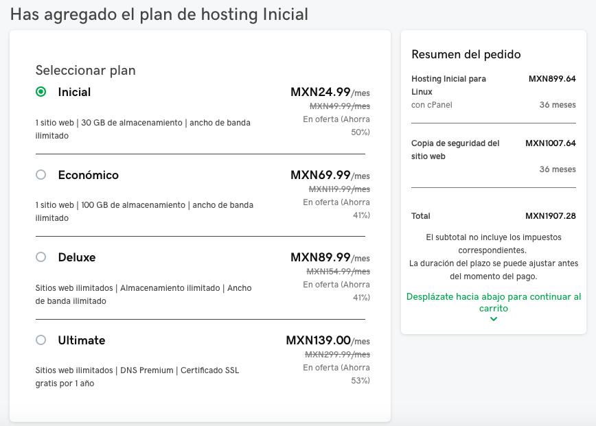 Ejemplo de planes de hosting