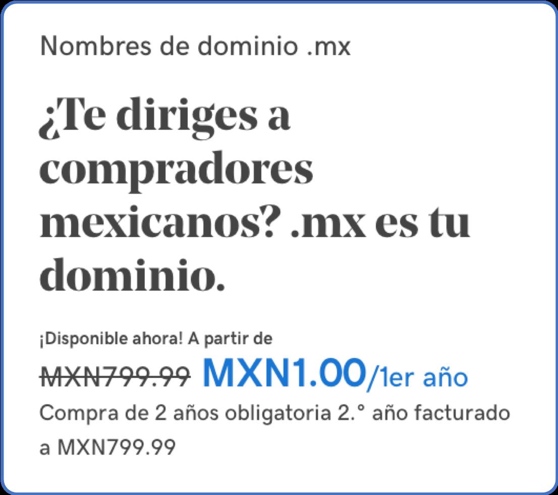 Precio especial dominio .mx en GoDaddy