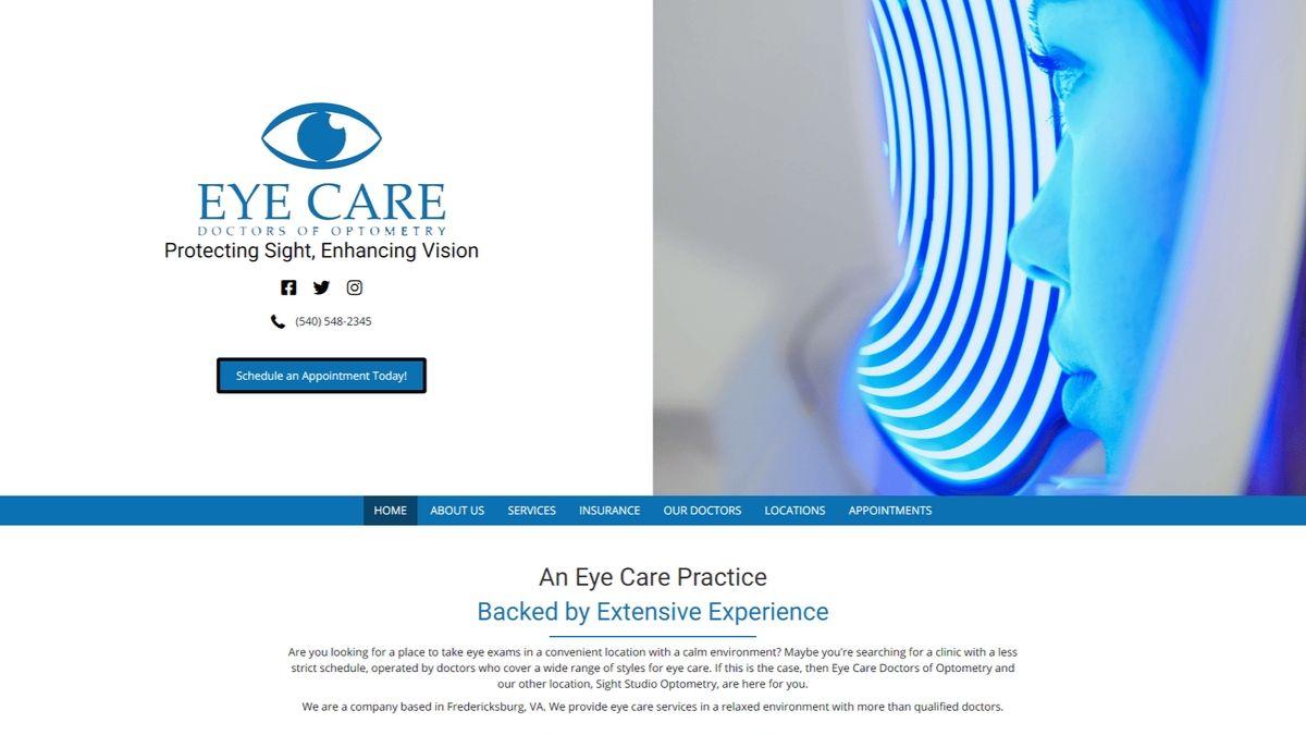 Eye Care, sitio web de servicios