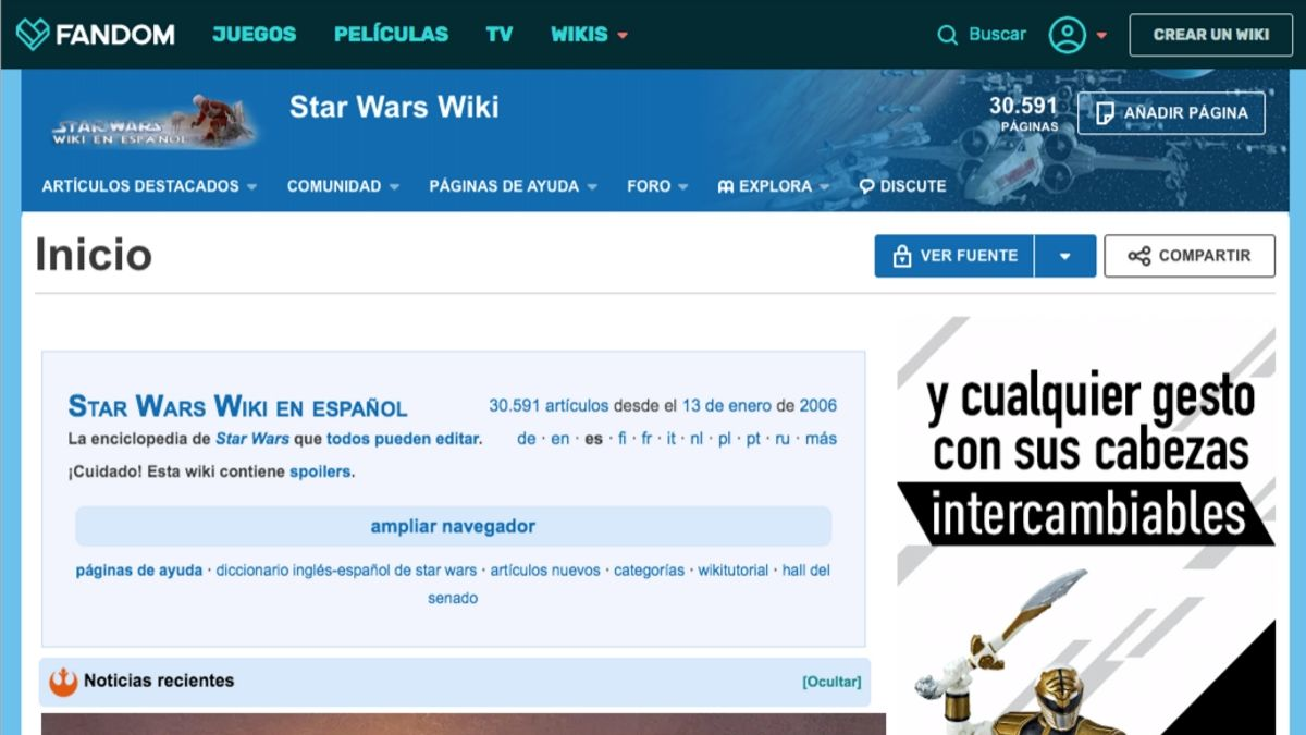 Sitio wiki de Star Wars