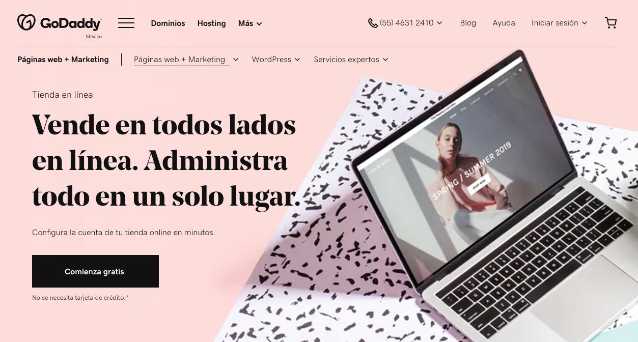 Plataformas de ventas online: GoDaddy Tienda en Línea