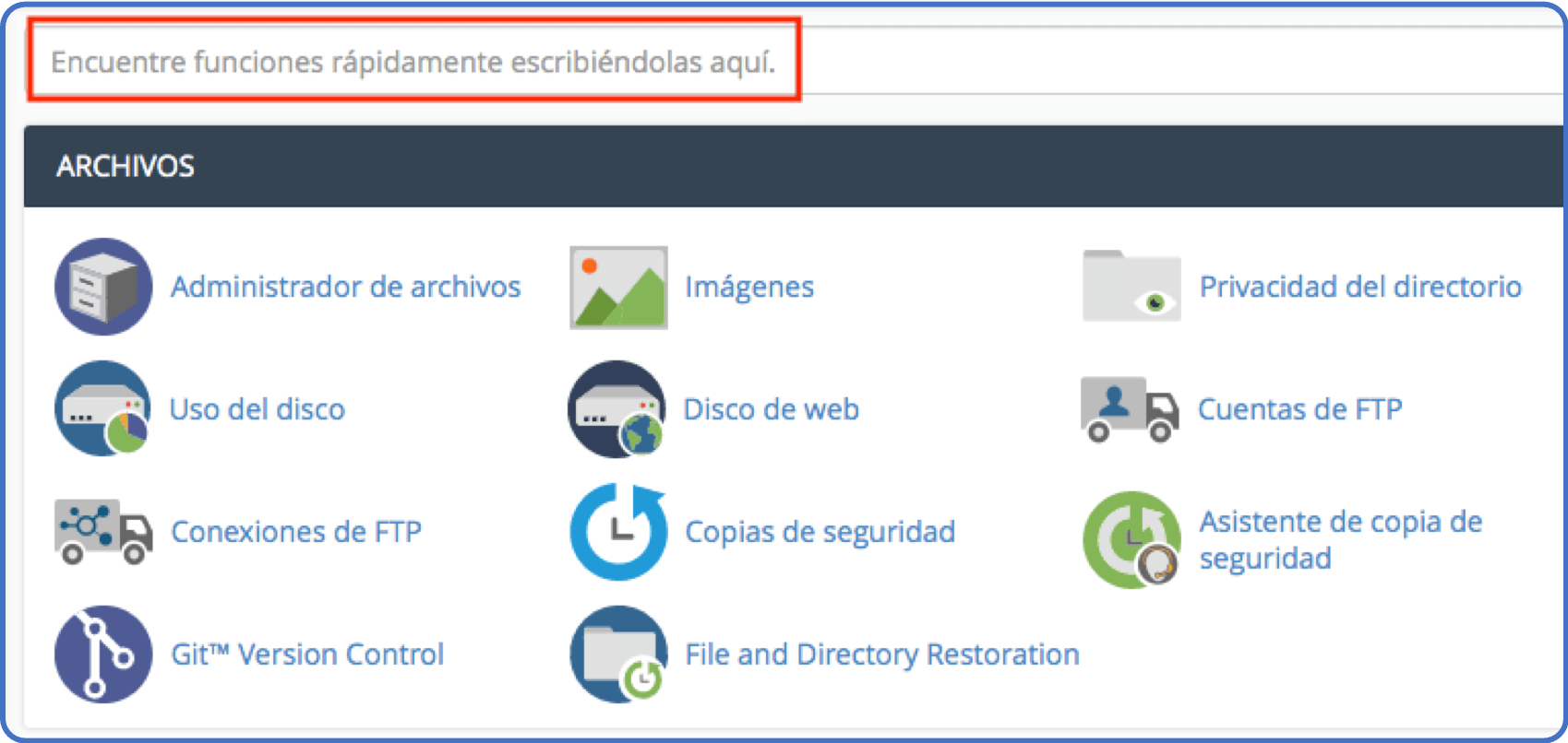 Tips cPanel: barra de búsqueda
