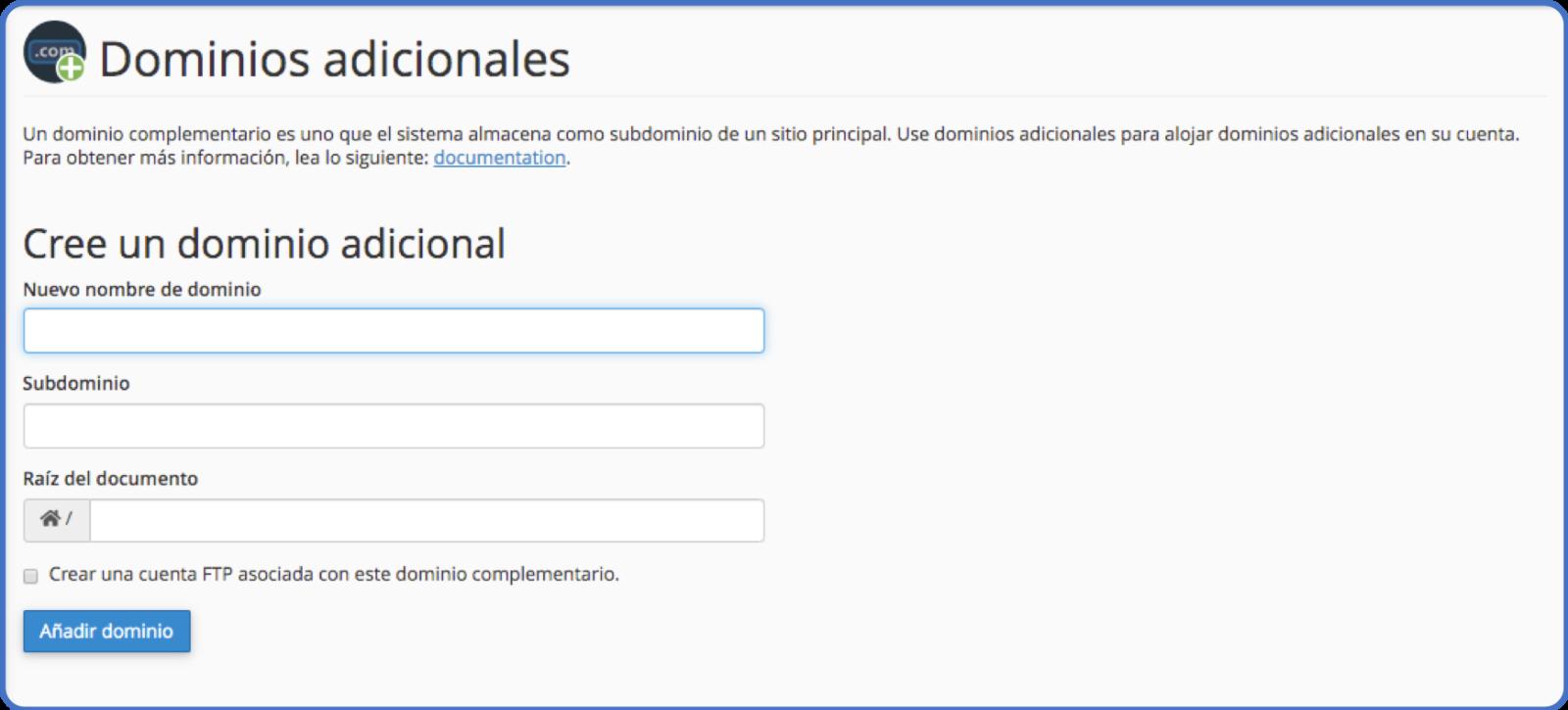 Tips cPanel: dominios adicionales