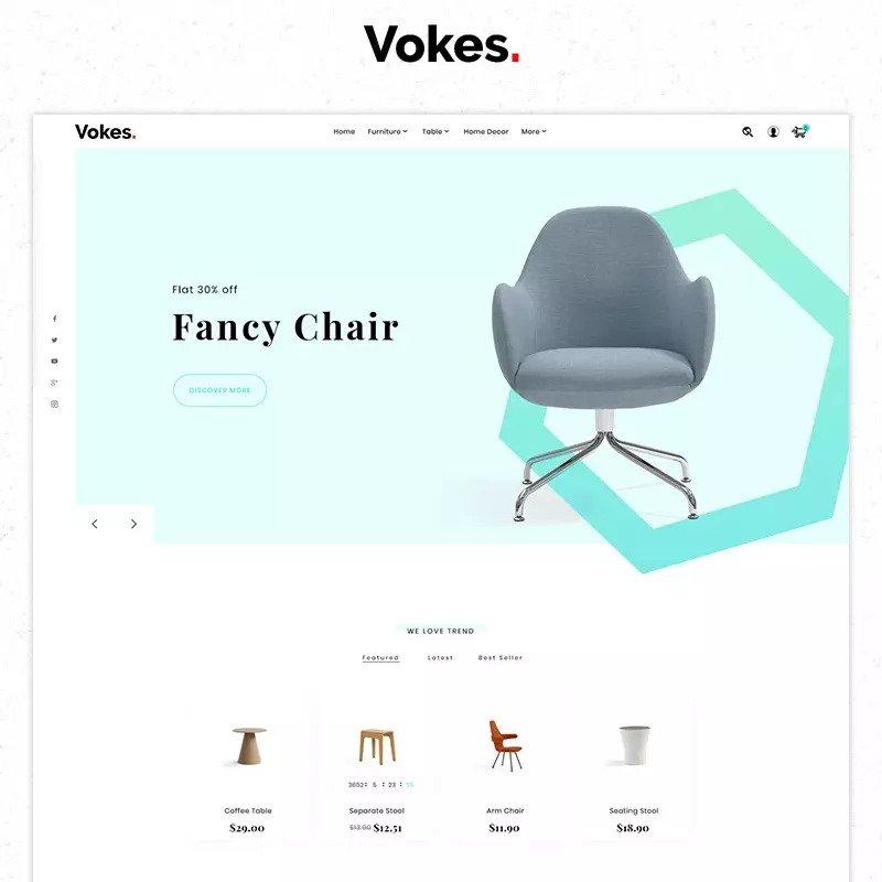 [Image ALT: Vokes Furniture, plantilla gratis para ecommerce PrestaShop]
