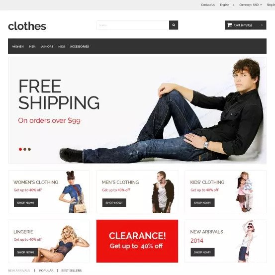 Clothes, plantilla gratis para ecommerce PrestaShop