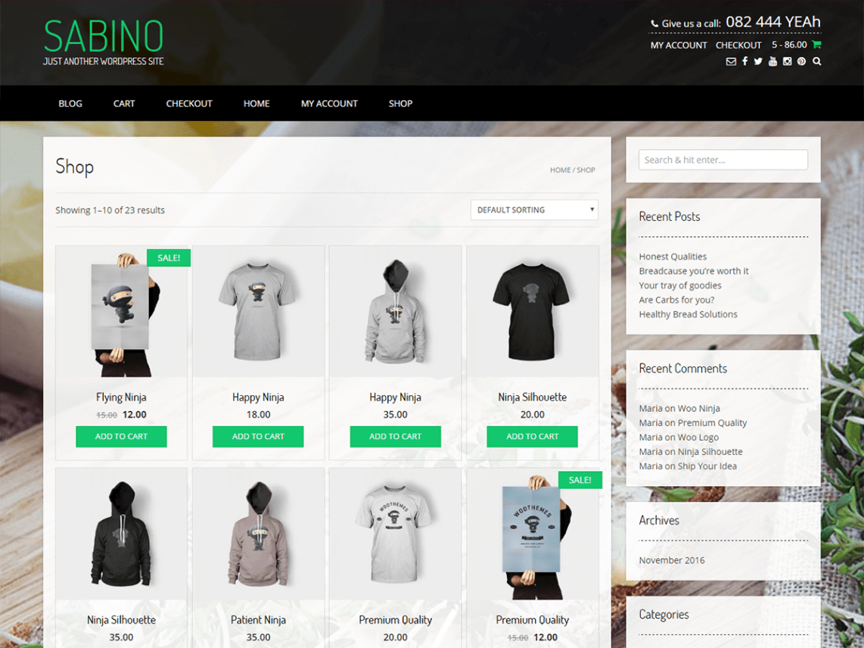 Sabino, plantilla gratis para ecommerce WordPress