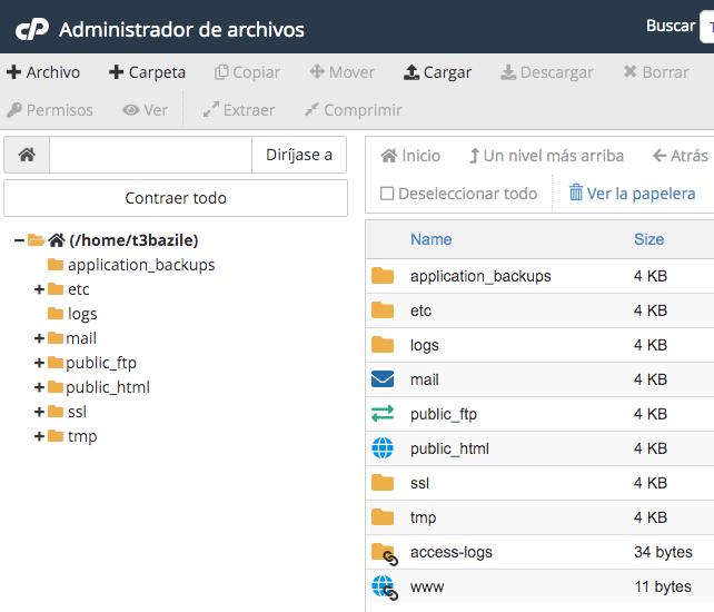 Image ALT: Árbol de directorios y carpetas de archivos en cPanel