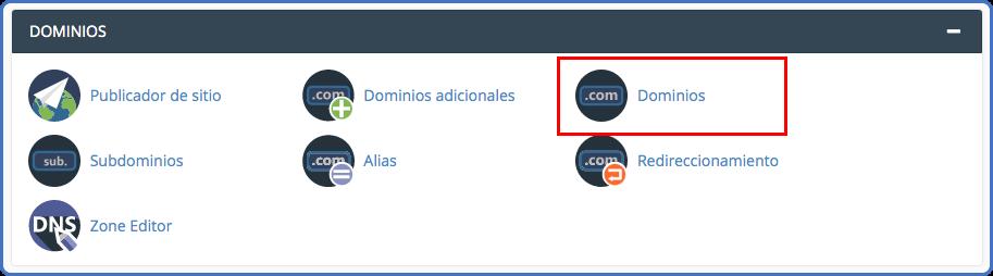 Sección de Dominios en cPanel