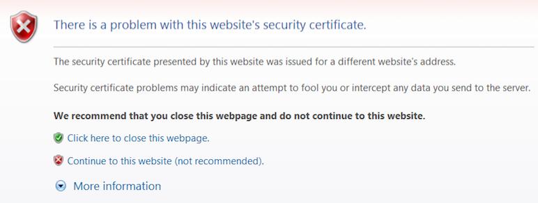 """""""Hay un problema con el certificado de seguridad de este sitio web"""": ¿qué significa este mensaje?"""
