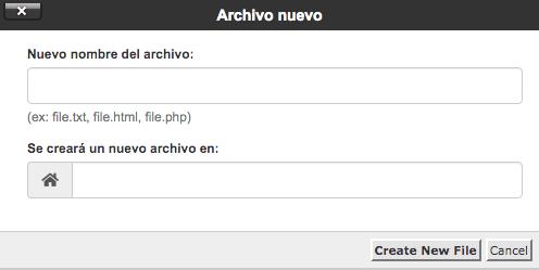 Image ALT: Crea un nuevo archivo en el administrador de cPanel