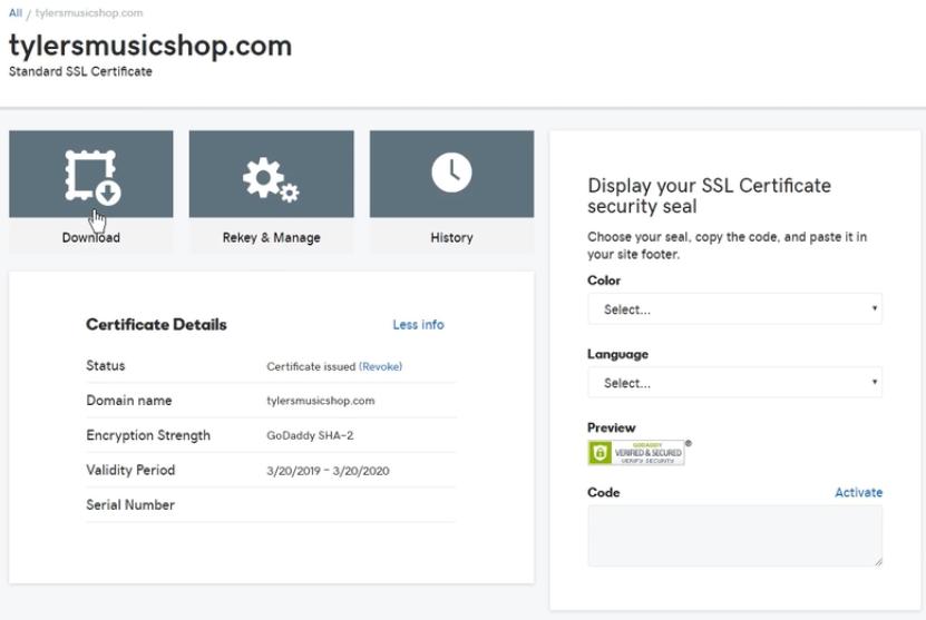 Seleccionar opción de descargar archivos de certificado SSL