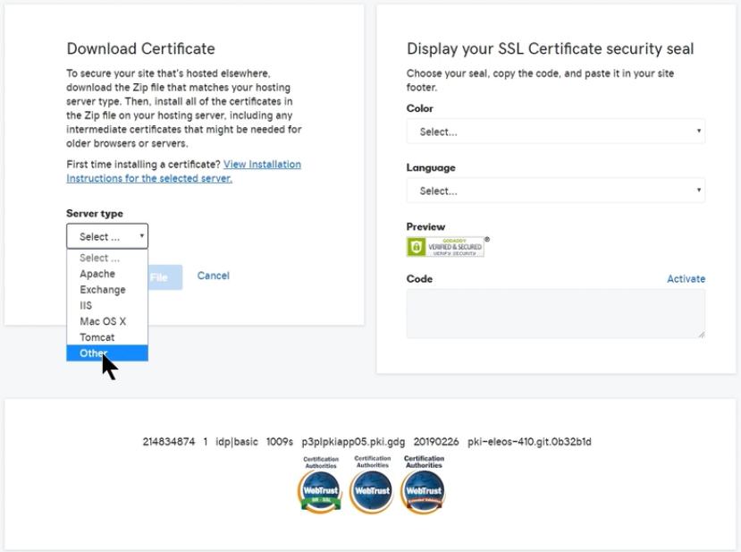 Seleccionar el servidor para descargar archivos de certificado SSL