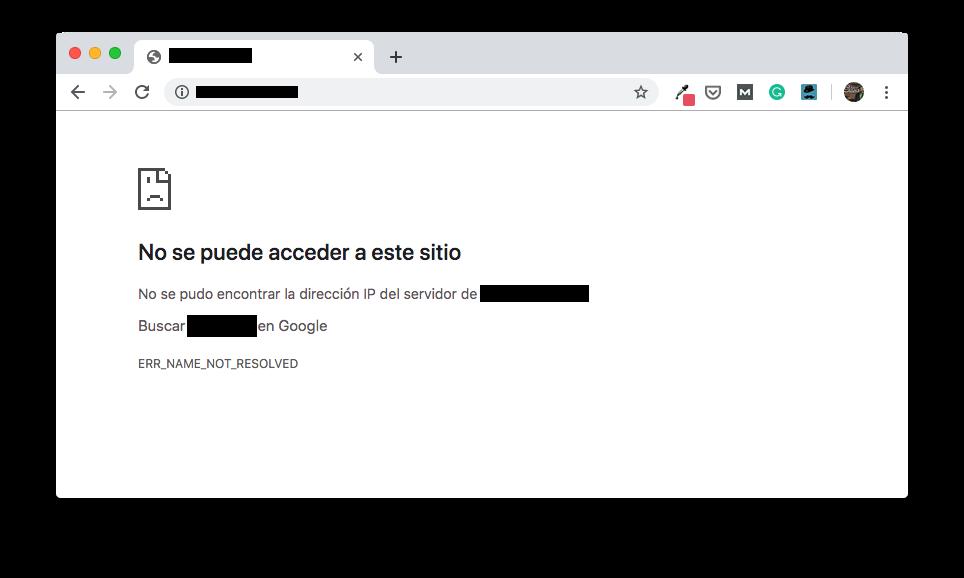 Ejemplo de error de DNS