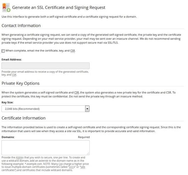 Genera certificado SSL y firma de certificado via cPanel, en VPS
