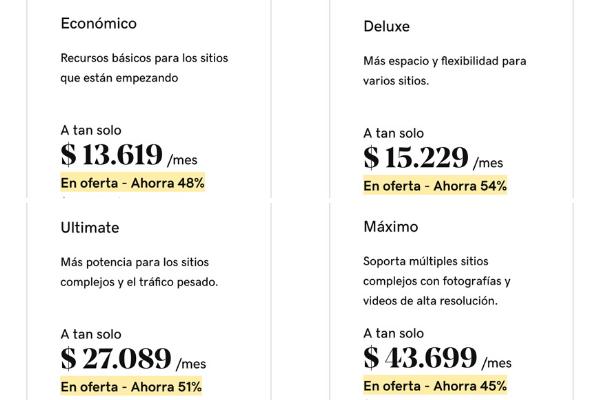 Planes de hosting compartido en Colombia. GoDaddy