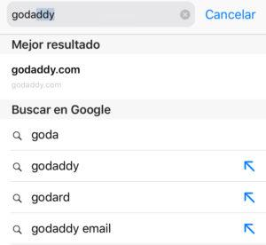 Busca el dominio de GoDaddy