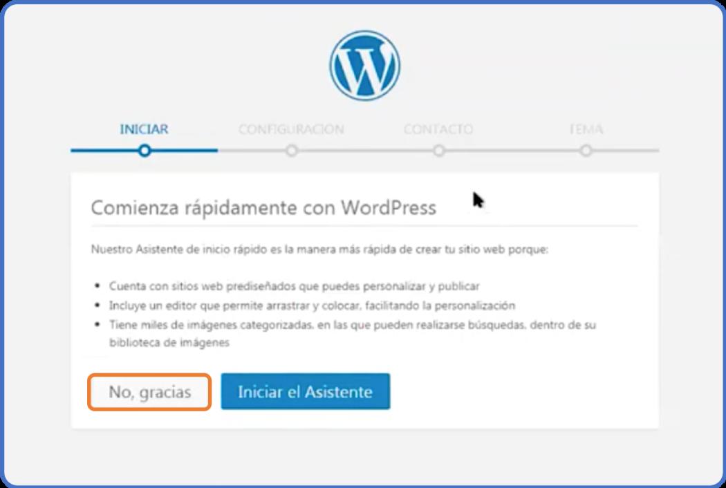 Asistente de inicio rápido de WordPress