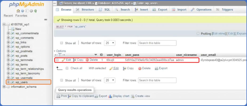 Localiza el usuario de inicio de sesión en phpMyAdmin