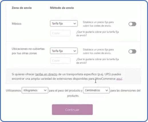 zonas y métodos de envío en WooCommerce