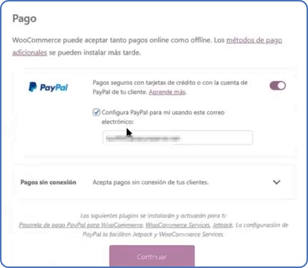 forma de pago PayPal en WooCommerce