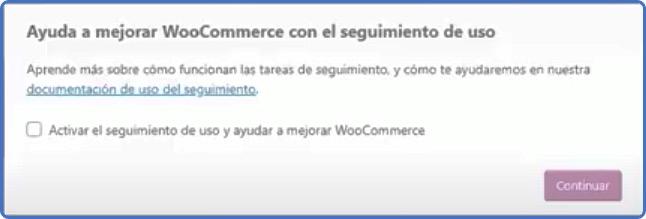 mensaje de seguimiento WooCommerce