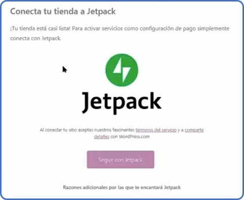 configuración de WooCommerce: Jetpack