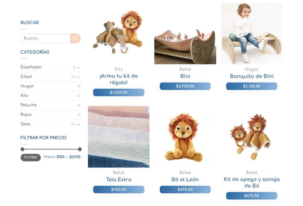 Ejemplo tienda online de Zana Artesanal