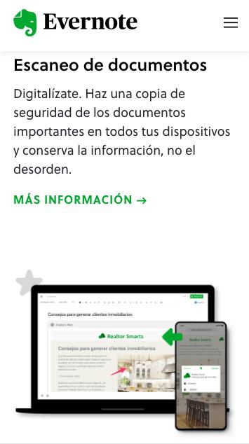 Ejemplo de página web responsiva: Evernote