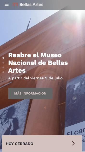 Ejemplo de página web responsiva: Museo Nacional de Bellas Artes, Argentina