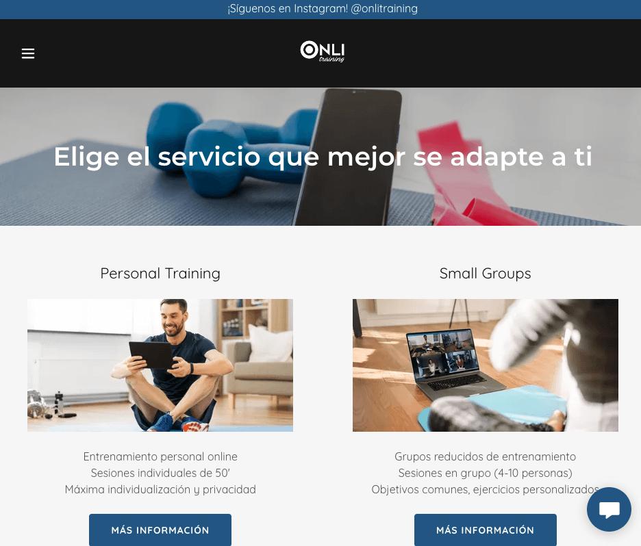 Ejemplo de página web de portafolio digital: Onli Training